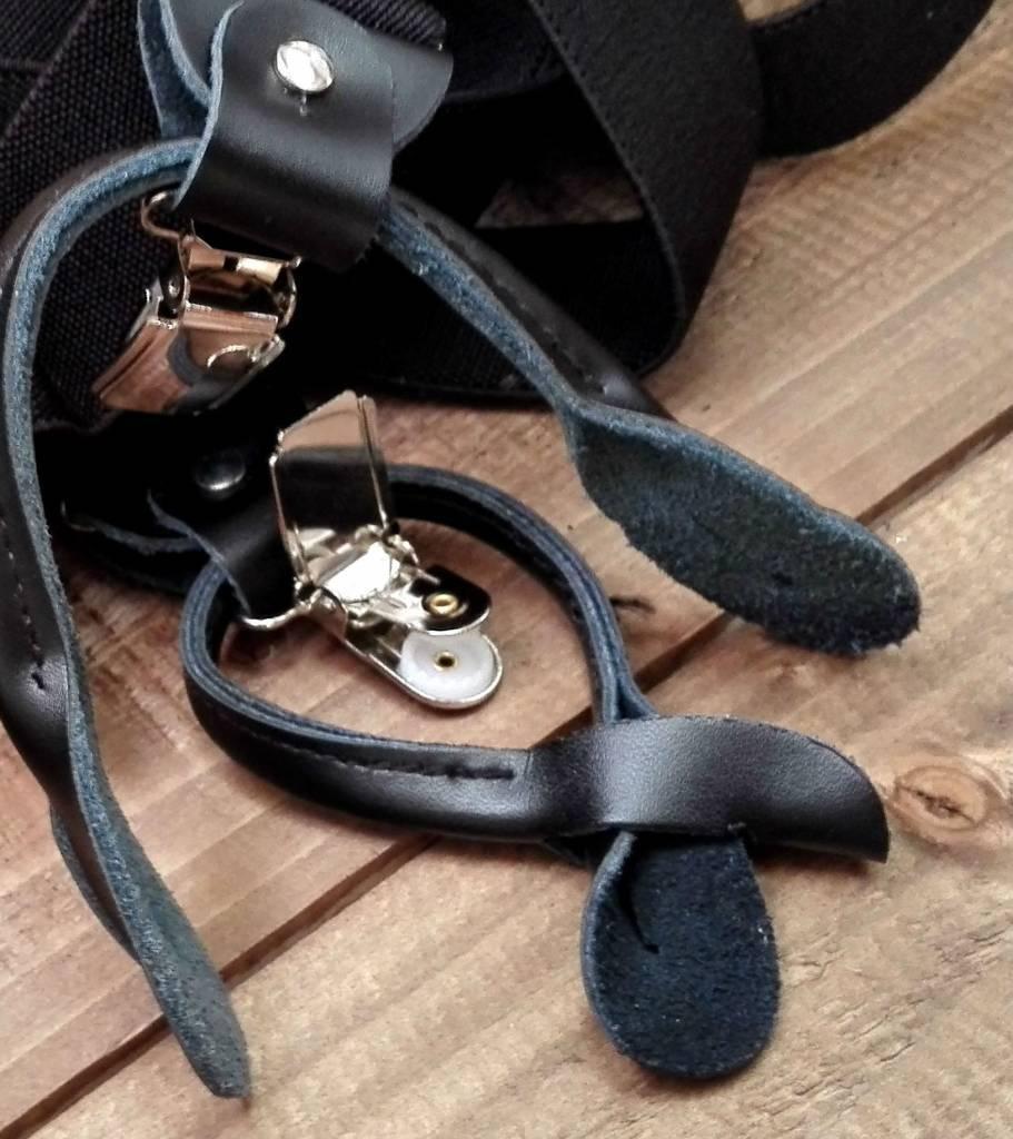 English Fashion bretellen met lussen & knopen Zwart