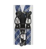 English Fashion Silk Suspenders blue checkered