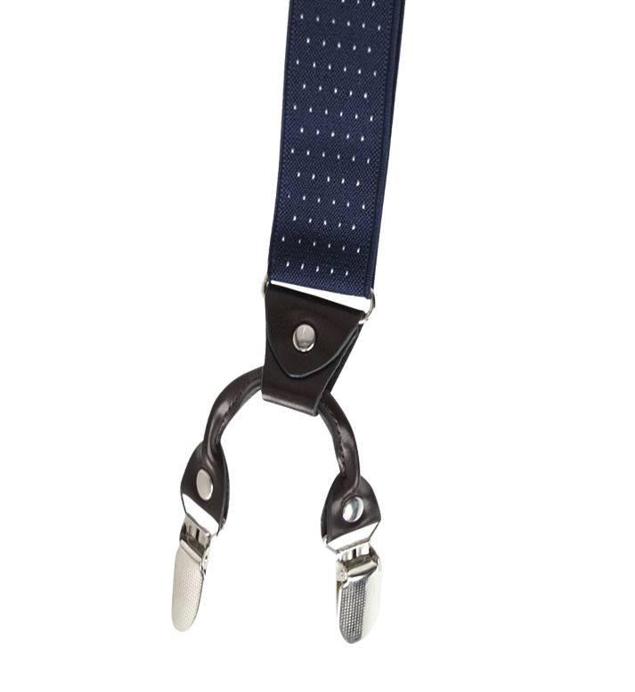 English Fashion Suspenders blue polkadot