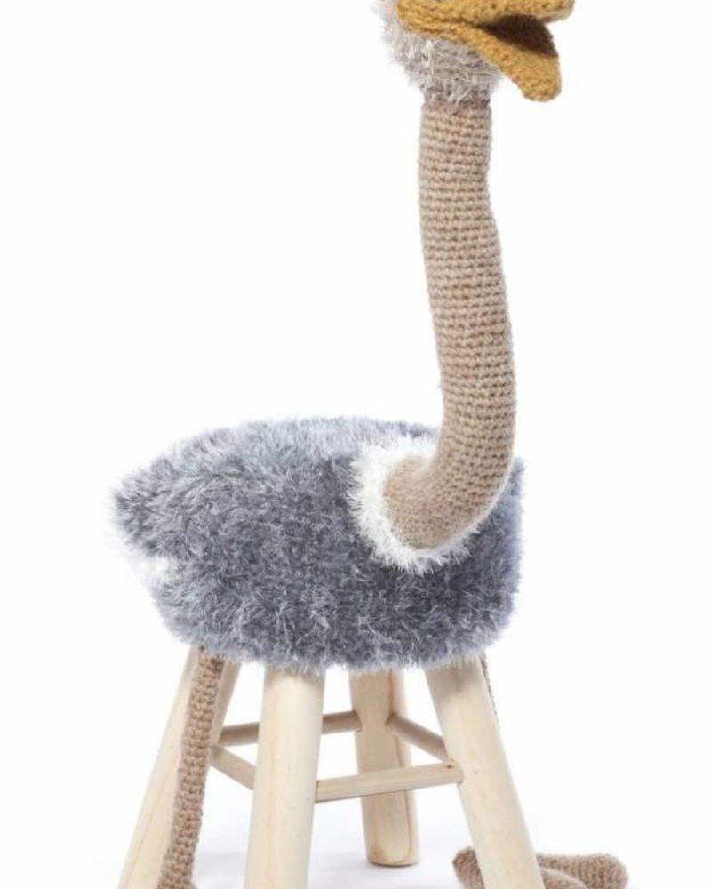 Haakpakket dierenkruk struisvogel