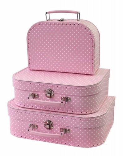 Koffer roze met witte stippen