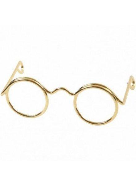 Brilletje goudkleur 3,5 cm