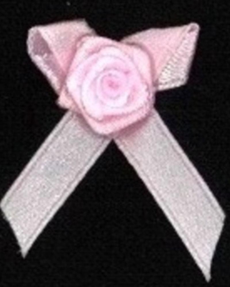 Strikje met roosje roze