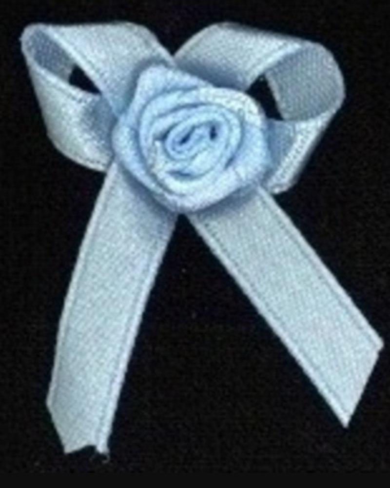 Strikje met roosje blauw
