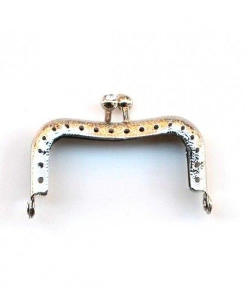 Portemonnee sluiting 5,5 cm (hoekig) zilver