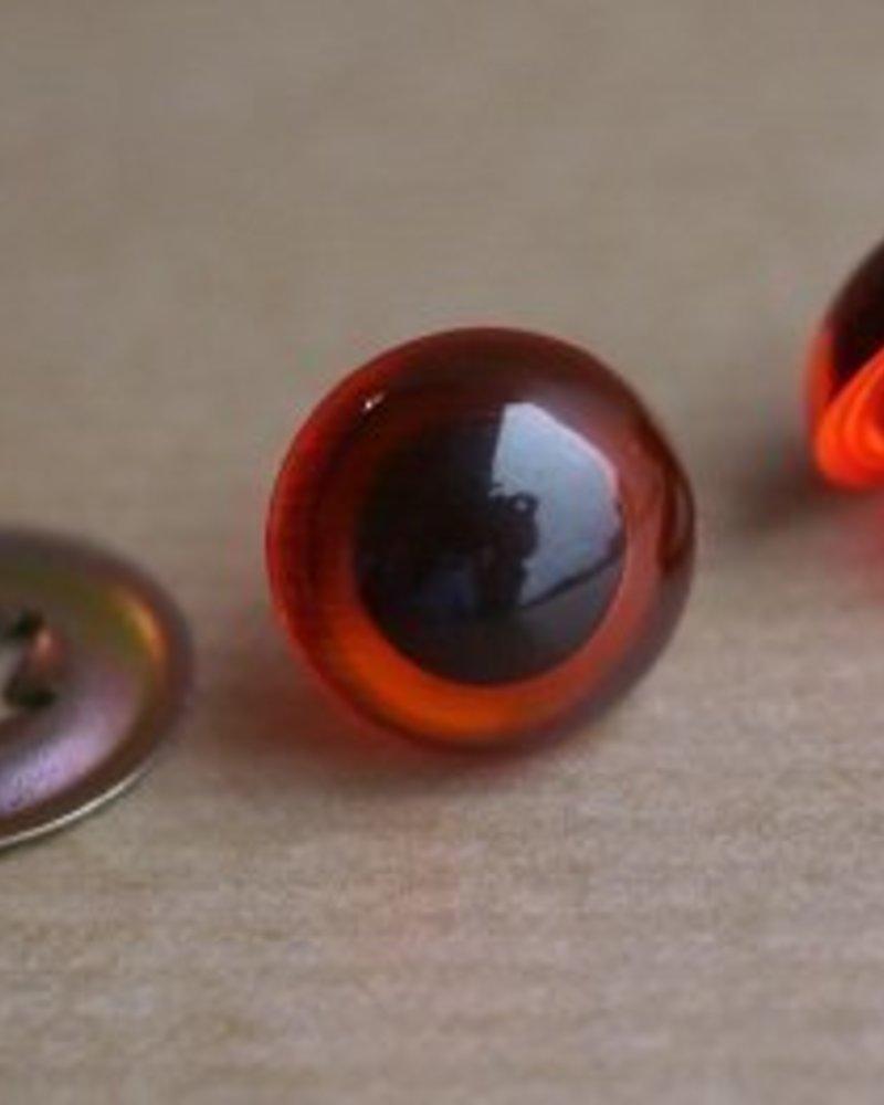 10 paar oogjes rond transparant amber 7,5 mm EINDE REEKS (metalen sluitring)