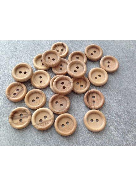 Houten knoop 15 mm met opstaand randje