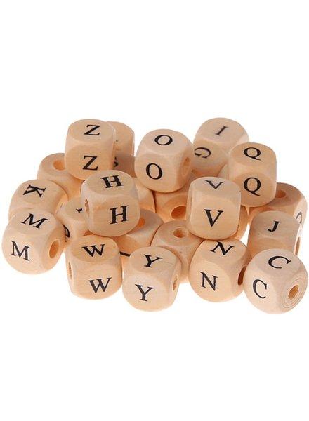 Houten kraal met letter (10 mm)