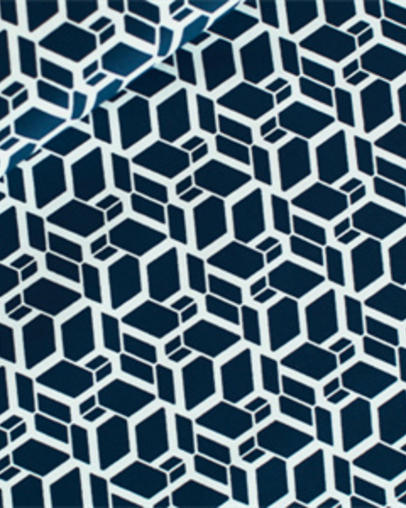Katoen - Skew Cube donker staalblauw