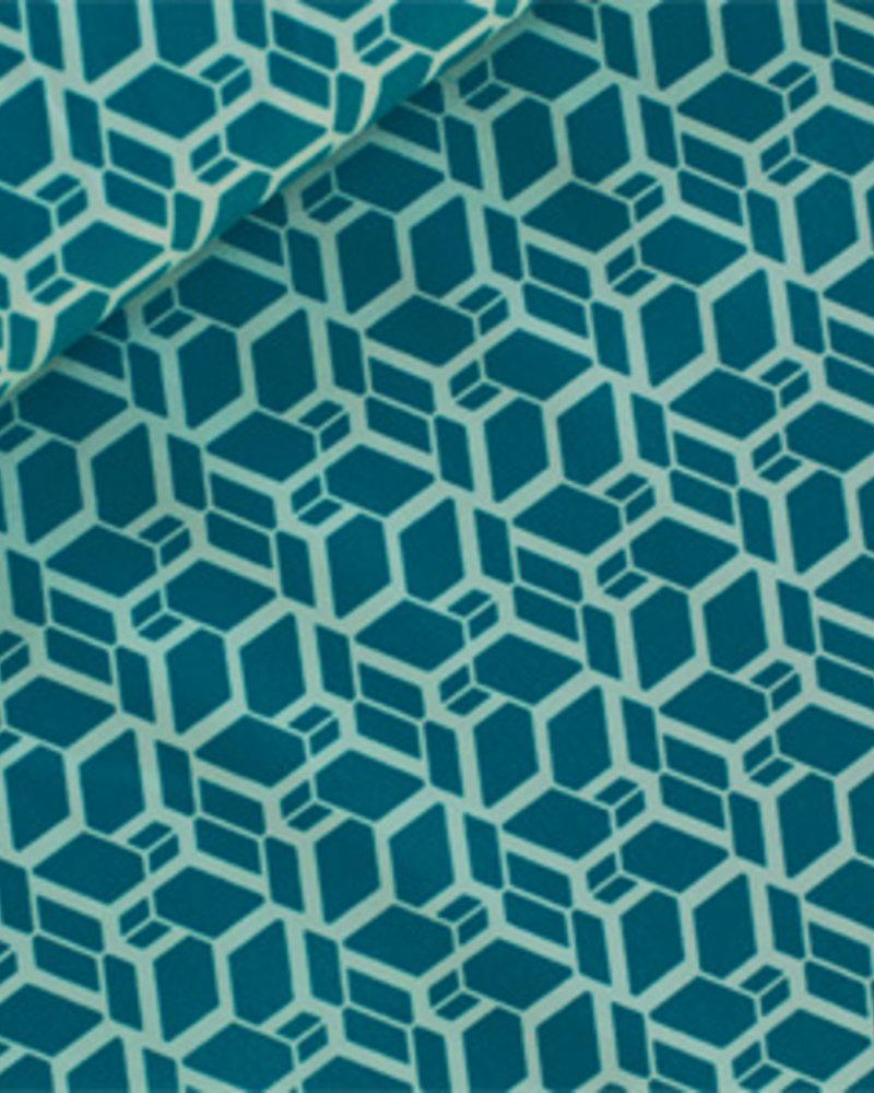 Katoen - Skew Cube turkoois - Coupon 2m60