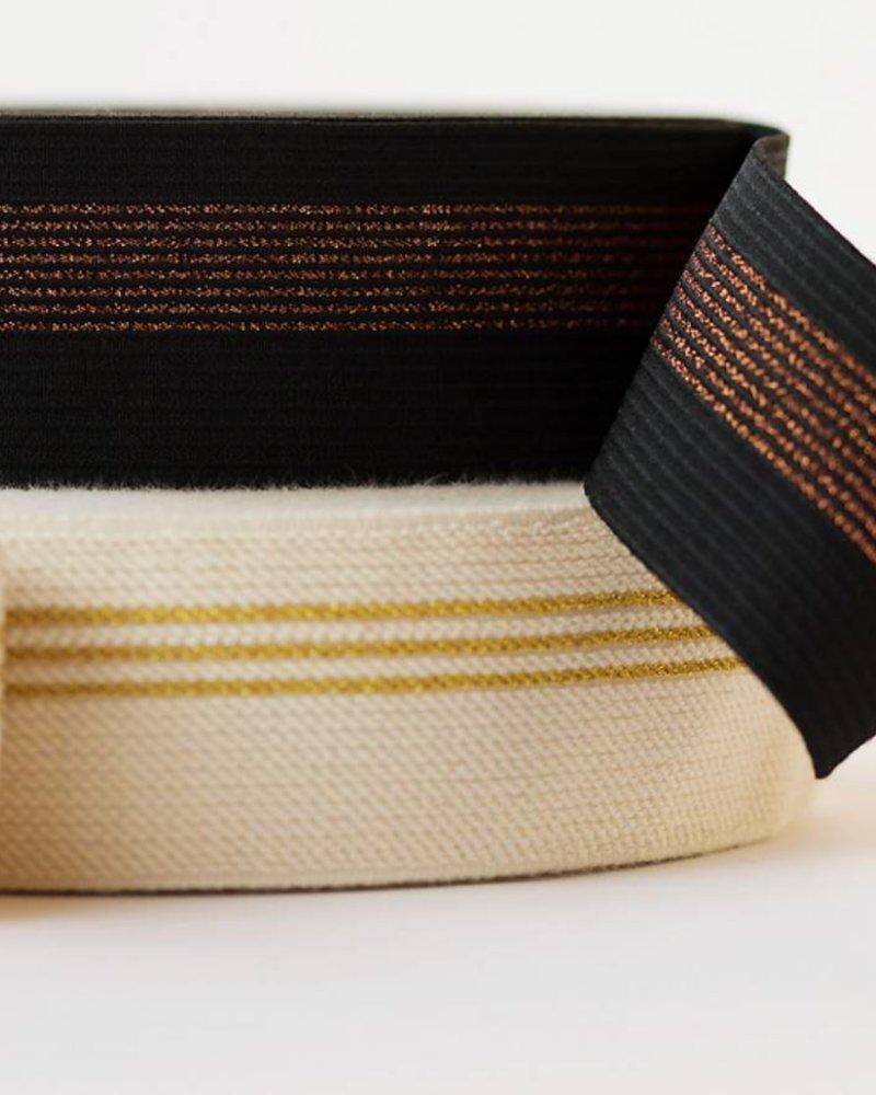 Elastische tailleband - zwart met koperen lijn