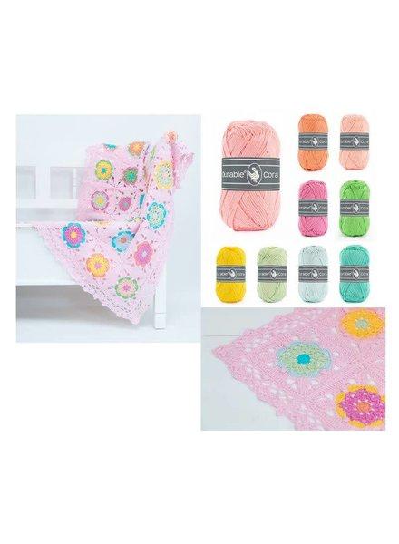 Pakket Coaster square deken - roze