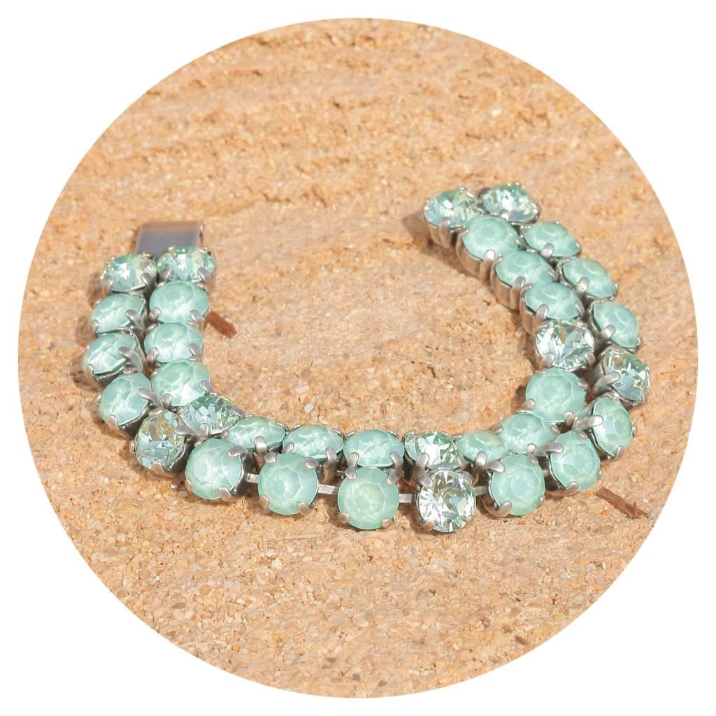 artjany zweireihiges Armband mit Kristallen in mint green mix