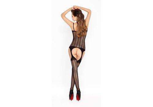 Zwarte netstof catsuit met open decolleté