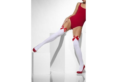 Stockings With Red Bow - White