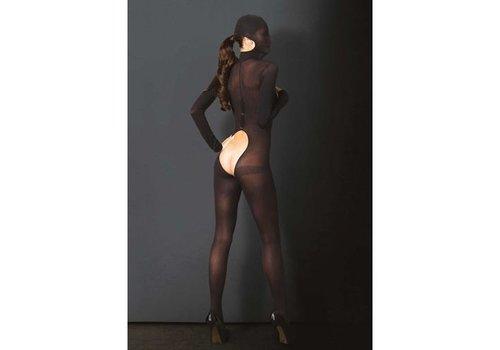 Bedekkende catsuit open kruis - zwart