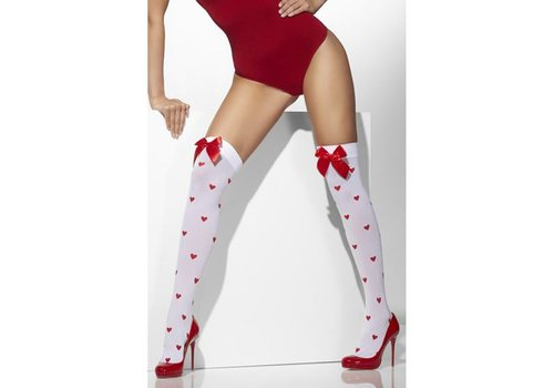 Opaque Hold-Ups White with Red Bows and Heart Print