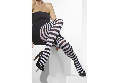 Opaque Tights Black & White Striped