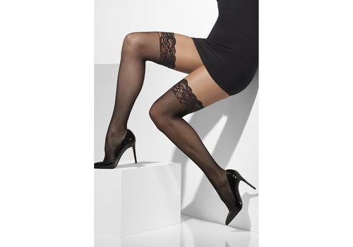 Fishnet Hold-Ups Black Lace Tops with Silicone