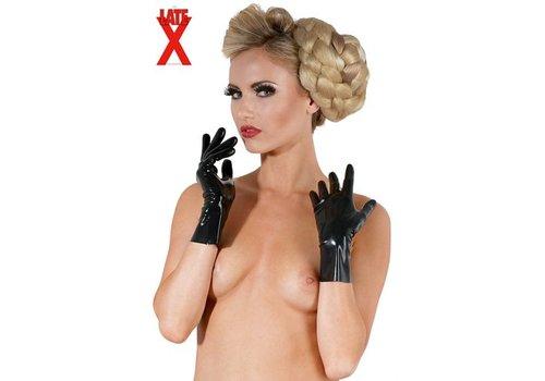 Korte latex handschoenen - zwart