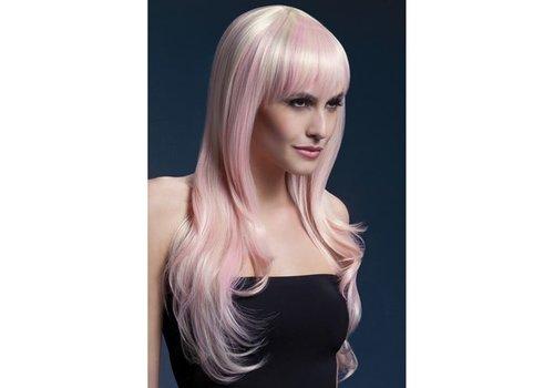 Fever lange blonde pruik met roze highlights
