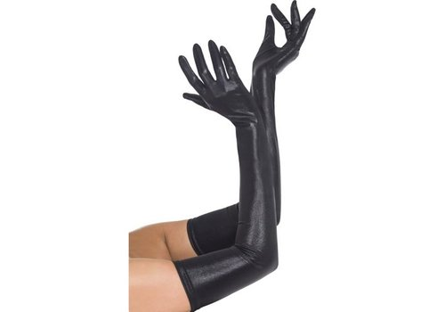 Gloves Wet Look Black