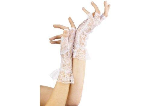 Vingerloze Kanten Handschoenen - Wit