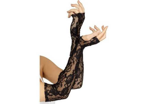 Gloves Black Full Length Gothic Lace Fingerless
