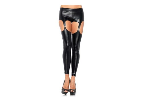 Wet look legging jarretels