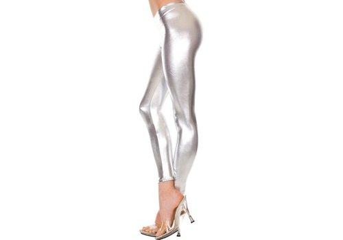 Lange Metallic Legging - Zilver