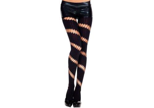Dichte Panty Met Diagonale Openingen - Zwart