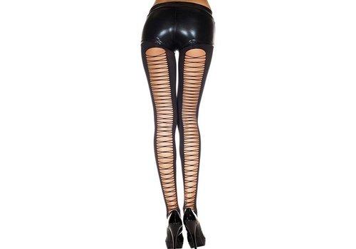 Dichte Panty Met Rijgveter Design - Zwart