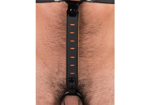 665 Leather NeoFlex Down Strap Neoprene Harness Extension Long Black/Orange