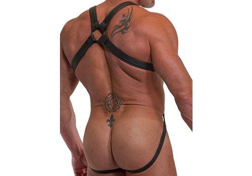 665 Leather Neoprene Jock Harness Black
