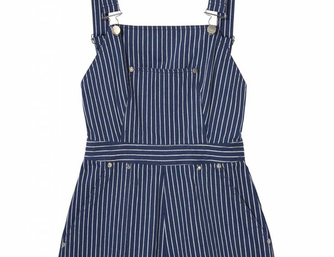 Don't Hold Back Overalls in Indigo Pinstripe