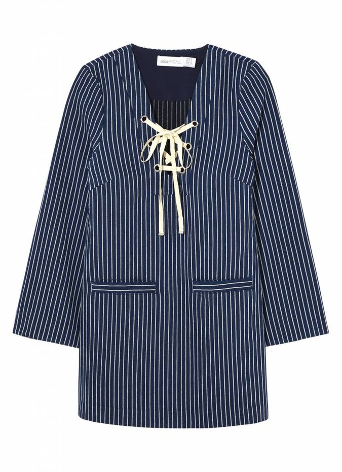 Lily Lyric Dress in Indigo Pinstripe