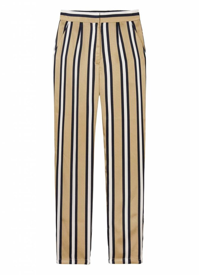 'Either Way' Trousers in Beige/White/Navy