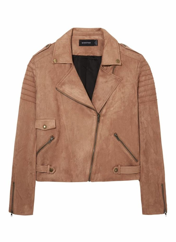 Mink Pink Now or Never Suede Jacket Tan