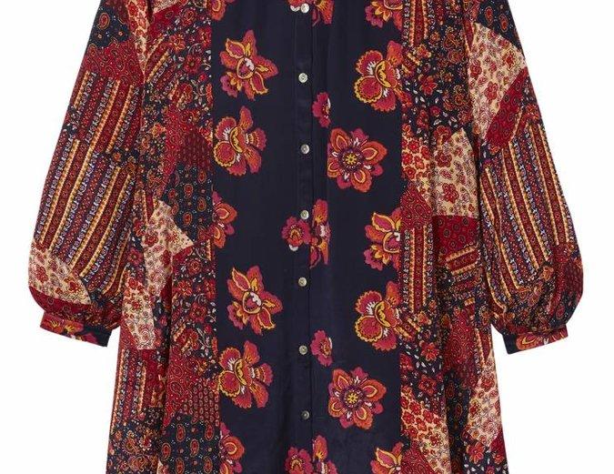Red 'Fleetwood' Patchwork Dress