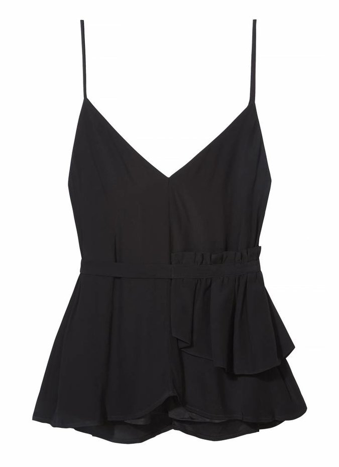 TY-LR The Vice Peplum Belt Top in Black
