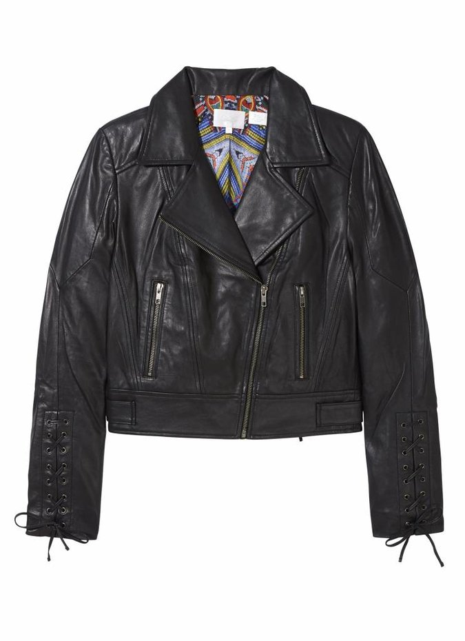 Camilla Embroidered Leather Biker