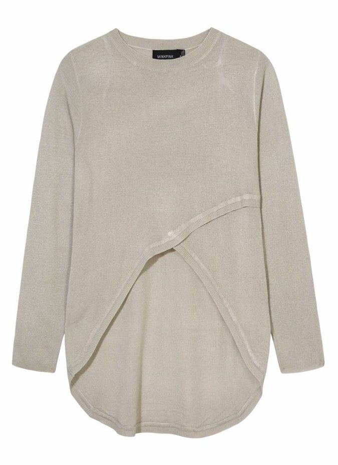 Mink Pink Cruising Crew Neck Knit in Grey Marle