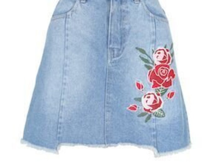 Mink Pink True Beauty Denim Skirt in Vintage Blue