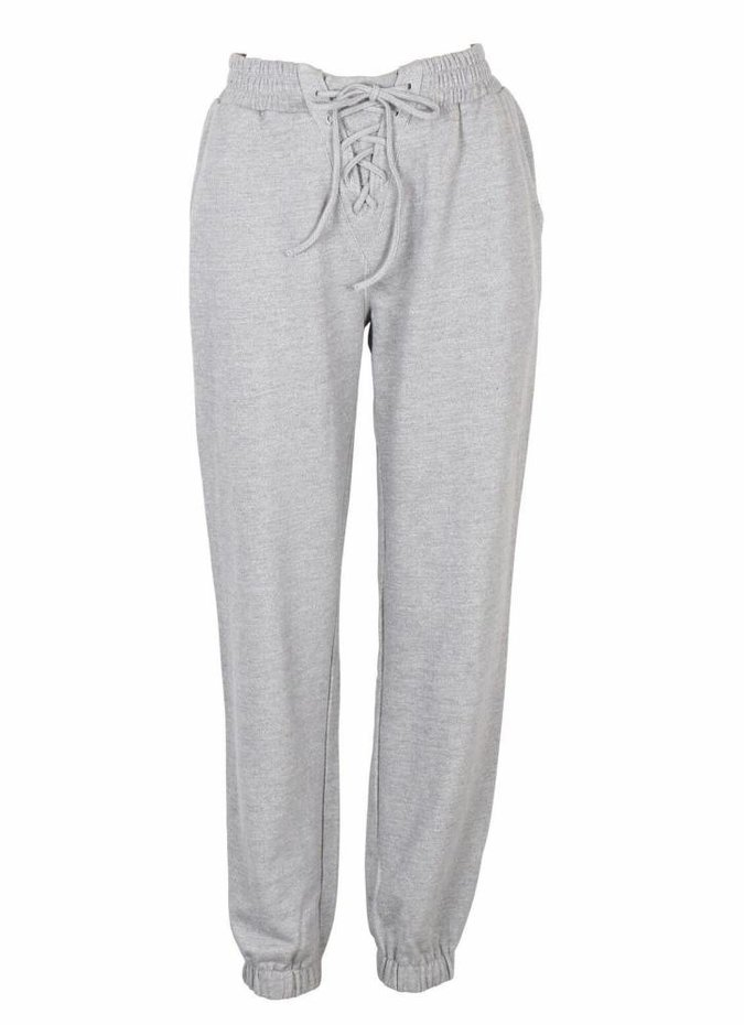Mink Pink Lace Up Track Pant in Grey Marle