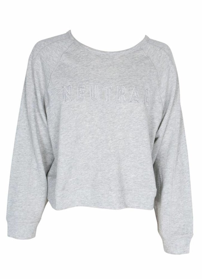 Mink Pink Neutral Raglan Sweater in Grey Marle