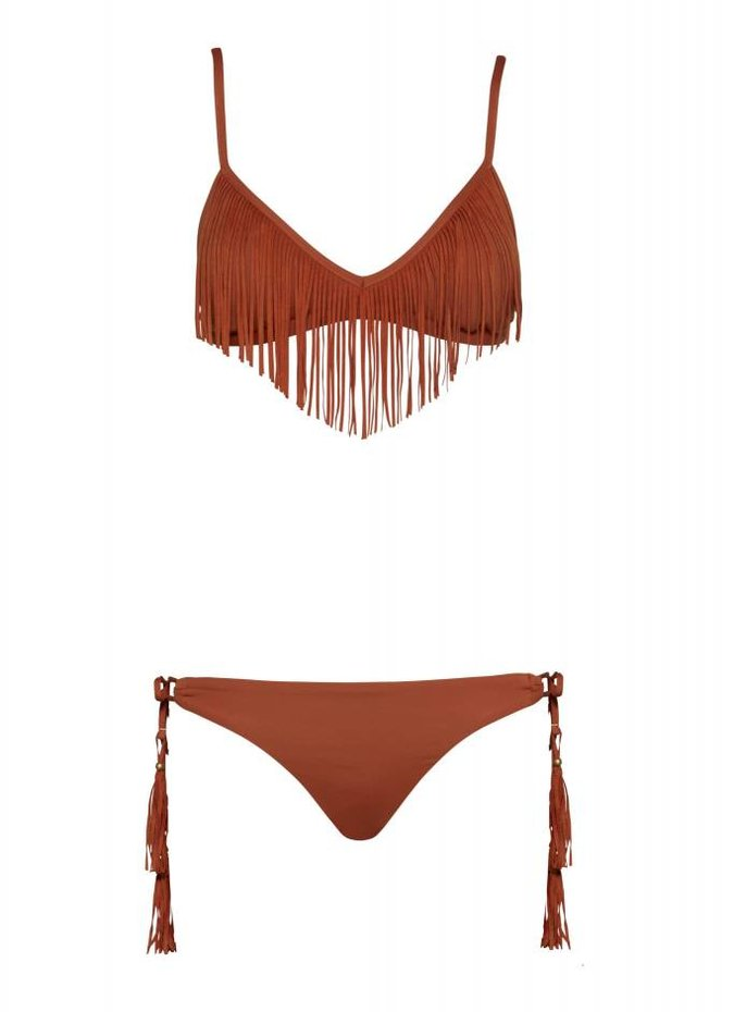 Seafolly Coastal Fringe Tie Side Brazillian Bottoms
