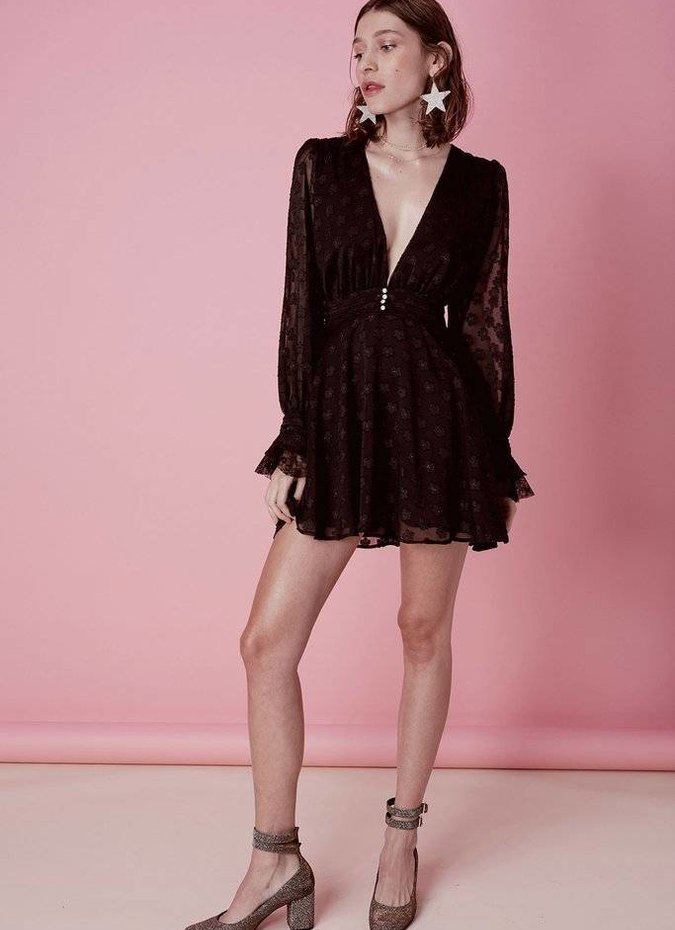 For Love & Lemons Modern Long Sleeve Dress - Black