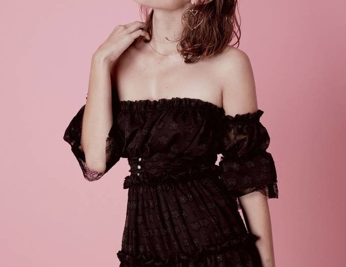 For Love & Lemons Modern Love Off Shoulder Dress - Black