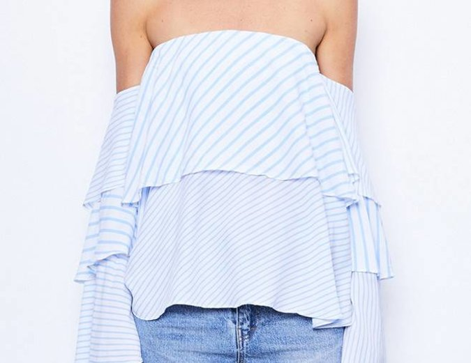MLM Label Mesa Shoulder Top - Blue Stripe