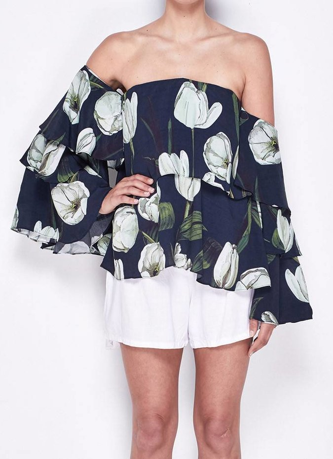 MLM Label Mesa Shoulder Top (Tulip Print)